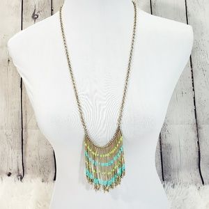 NwT Golden beaded long statement necklace